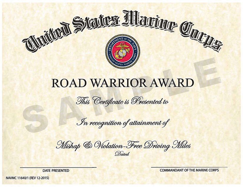 Safety awards programs for Certificate of commendation usmc template
